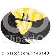 Clipart Of A Retro Woodcut Scene Of Hikers Crossing A Footbridge Over A River At Sunset Royalty Free Vector Illustration