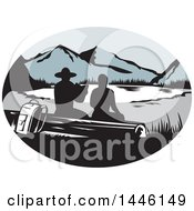 Retro Woodcut Scene Of Silhouetted Hikers Sitting On A Log And Looking Out At A Mountainous Lake Or Pond