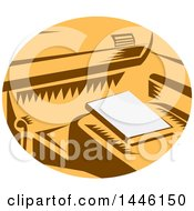 Poster, Art Print Of Retro Woodcut Book On A Passenger Seat Of A Car In A Brown White And Orange Oval