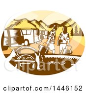 Clipart Of A Retro Woodcut Point Of View From A Driver In A Rental Car And Tourists In A Parking Lot Royalty Free Vector Illustration