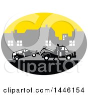 Clipart Of A Retro Woodcut Man Towing A Car On A City Roadside Royalty Free Vector Illustration
