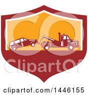 Poster, Art Print Of Retro Woodcut Tow Truck Driver Hauling A Car In A Red White And Orange Shield