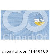 Great Blue Heron Bird On A Branch In A Circle With A Barn And Silo And Blue Rays Background Or Business Card Design