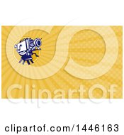 Clipart Of A Retro Film Movie Camera And Orange Rays Background Or Business Card Design Royalty Free Illustration