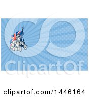 Poster, Art Print Of Knight In Metal Armour Carrying A British Flag And Blue Rays Background Or Business Card Design