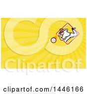 Clipart Of A Baseball Player Athlete Pitching From A Yellow Diamond And Yellow Rays Background Or Business Card Design Royalty Free Illustration