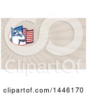 Poster, Art Print Of Retro Soldier Saluting In An Oval With An American Flag And Taupe Rays Background Or Business Card Design