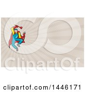 Cartoon Super Plumber Jumping With A Monkey Wrench And Plunger And Taupe Rays Background Or Business Card Design