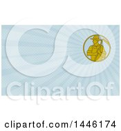 Mono Line Styled Farmer Holding A Scythe In A Circle And Blue Rays Background Or Business Card Design