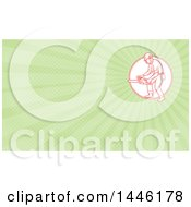 Poster, Art Print Of Mono Line Styled Red Lumberjack Or Arborist Holding A Chainsaw In A Circle And Green Rays Background Or Business Card Design