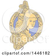 Poster, Art Print Of Mono Line Styled Woman Athena With An Owl On Her Shoulder In A Circuit Frame