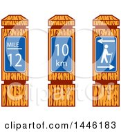 Clipart Of Wooden Hiking Mile Marker Signs Royalty Free Vector Illustration by patrimonio