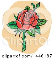 Clipart Of A Tattoo Styled Red Rose With Thorns Royalty Free Vector Illustration