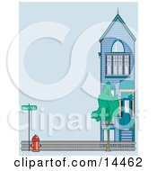 Fire Hydrant By A Fence And Home On Main Street Clipart Illustration