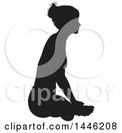 Clipart Of A Black Silhouetted Woman In A Yoga Pose Royalty Free Vector Illustration