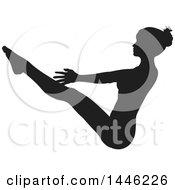 Clipart Of A Black Silhouetted Woman In A Yoga Pose Royalty Free Vector Illustration by AtStockIllustration