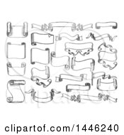 Clipart Of Sketched Or Etched Styled Black And White Ribbons Flags And Banners Royalty Free Vector Illustration