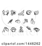Clipart Of Black And White Watercolor Styled Food Safety Allergy Icons Royalty Free Vector Illustration