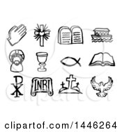 Clipart Of Black And White Watercolor Styled Christian Symbol Icons Royalty Free Vector Illustration by AtStockIllustration