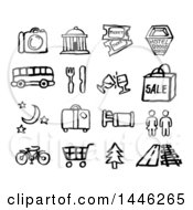 Clipart Of Black And White Watercolor Styled Travel Symbol Icons Royalty Free Vector Illustration by AtStockIllustration