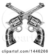 Black And White Woodcut Etched Or Engraved Crossed Vintage Revolver Pistols