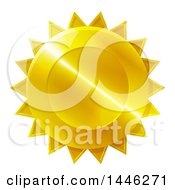 Clipart Of A Shiny Gradient Golden Star Shaped Metal Award Badge Royalty Free Vector Illustration