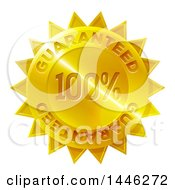 Clipart Of A Shiny Gradient Golden Star Shaped 100 Percent Guaranteed Metal Award Badge Royalty Free Vector Illustration