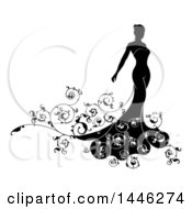 Clipart Of A Silhouetted Black And White Bride In Her Dress With Swirls Royalty Free Vector Illustration