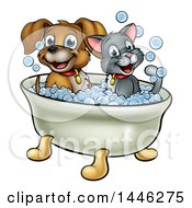 Clipart Of A Cartoon Happy Puppy Dog And Cat Soaking In A Bubble Bath Royalty Free Vector Illustration by AtStockIllustration