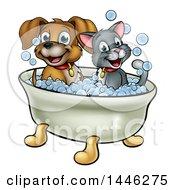 Cartoon Happy Puppy Dog And Cat Soaking In A Bubble Bath