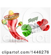 3d Mexican Flag Colored Happy Cinco De Mayo Text Design With A Chile Pepper Mascot Holding Maracas