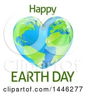 Clipart Of A Heart Shaped Planet With Happy Earth Day Text Royalty Free Vector Illustration