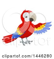 Clipart Of A Scarlet Macaw Parrot Presenting With A Wing Royalty Free Vector Illustration by AtStockIllustration