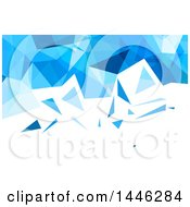 Clipart Of A Blue And White Low Poly Geometric Background Or Business Card Design Royalty Free Vector Illustration