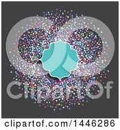 Turquoise Frame Over Colorful Confetti On Gray