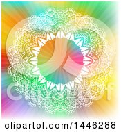 Round White Ornate Frame On A Colorful Background With Rays