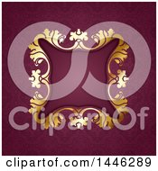 Golden Ornate Floral Frame Over Damask