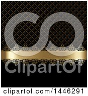 Golden Ribbon And Pattern On Black With Text Space