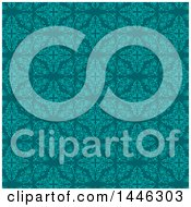 Clipart Of A Teal And Turquoise Damask Floral Pattern Background Royalty Free Vector Illustration