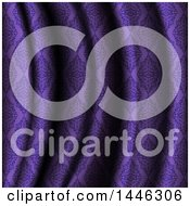 Clipart Of A Background Of Purple Damask Patterned Rippled Material Royalty Free Vector Illustration