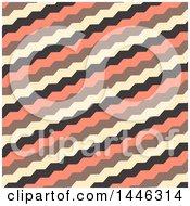 Retro Yellow Black And Salmon Pink Zig Zag Pattern