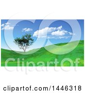 Clipart Of A 3d Tree In A Green Hilly Landscape Royalty Free Illustration