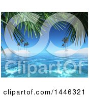 Clipart Of A 3d Tropical Background Of White Sand Islands And Palm Trees Royalty Free Illustration