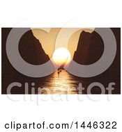 Clipart Of A Silhoeutted Yacht In A Bay Between Tall Cliffs And 3d Orange Ocean Sunset Royalty Free Illustration