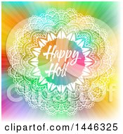 Clipart Of A Happy Holi Greeting In A White Ornate Frame Over A Colorful Burst Royalty Free Vector Illustration