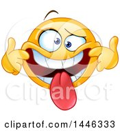 Poster, Art Print Of Cartoon Silly Yellow Emoji Smiley Face Emoticon Pulling His Lips Back And Sticking His Tongue Out To Make A Funny Face
