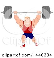 Clipart Of A Cartoon Muscular Blond White Male Bodybuilder Doing Lunges With A Barbell Royalty Free Vector Illustration