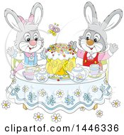 Clipart Of A Cartoon Happy Bunny Rabbit Couple Around A Spring Time Cake At A Table Royalty Free Vector Illustration