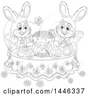 Cartoon Black And White Lineart Happy Bunny Rabbit Couple Around A Spring Time Cake At A Table