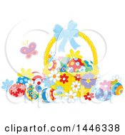 Clipart Of A Basket With Colorfully Easter Eggs And A Butterfly Royalty Free Vector Illustration by Alex Bannykh